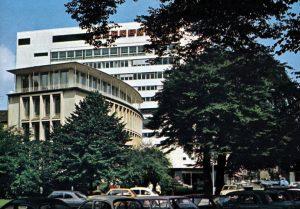Neckermann-Hochhaus Ruhrstraße/Delle - vorne GFST Gesellschaft für Stromwirtschaft (heute Denkmalschutz)