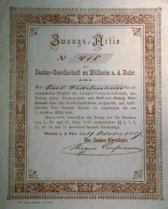 Zwangs-Actie von Carl Nedelmann - unterzeichnet 1889 Eugen Coupienne (1843.1907)