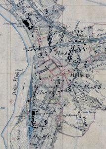 Alte Karte mit Nutzung des Grundstücks für eine Seilerei und Stallungen für die Leinpfad-Pferde. Gut erkennbar auch der alte Fabrikkanal, der von der Troost'schen Weberei zur Ruhr führte