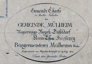 Gemeinde Mülheim, Regierungs Bezirk Düsseldorf, Kreis Essen (durchgestrichen) - später Kreis Duisburg - Legende einer Gemeinde Charte von 1822-1823 von Geometer Becker