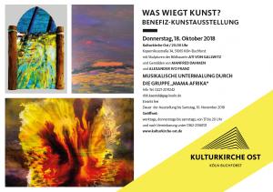 """2 Künstler aus dem Kunsthaus Mülheim Ruhrstraße 3 stemmen mit Ati von Gallwitz die Benefizausstellung in Köln """"WAS WIEGT KUNST?"""" (Eröffnung 18.10.2018 20h Kulturkirche Ost"""