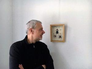 Klaus Wiesel mit einer seiner Arbeiten zum Leonardo da Vinci - Jahr 2019